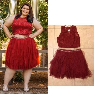 Two Piece Sleeveless Formal Red Dress Plus Size 22